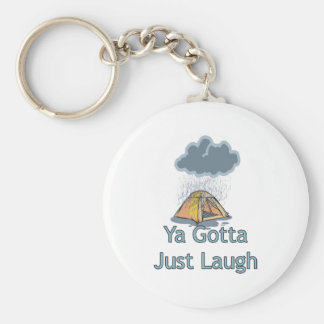Camping in the Rain Basic Round Button Key Ring
