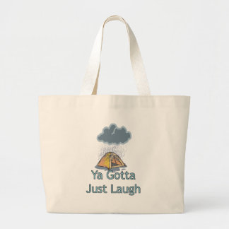 Camping in the Rain Large Tote Bag
