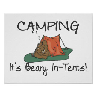 Camping Is Beary In Tents Poster