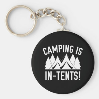 Camping Is In-Tents! Basic Round Button Key Ring