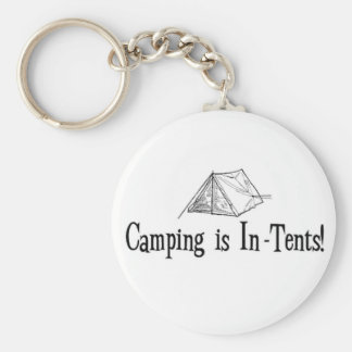 "Camping is ""In-Tents"" Basic Round Button Key Ring"