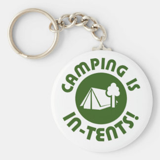 Camping is in tents basic round button key ring