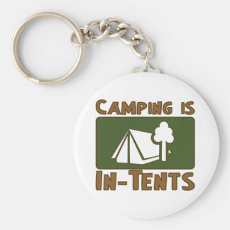 Camping is In-Tents Basic Round Button Key Ring