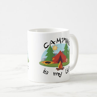 Camping is My Life Tent and Forest Coffee Mug
