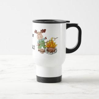 Camping Moose cartoon travel mug