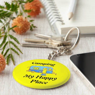 Camping My Happy Place Basic Round Button Key Ring