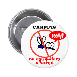 camping no mosquitoes funny humor cartoon 6 cm round badge