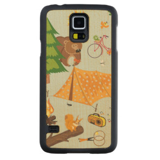 Camping Pattern Carved Maple Galaxy S5 Case