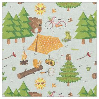 Camping Pattern Fabric