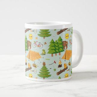 Camping Pattern Large Coffee Mug