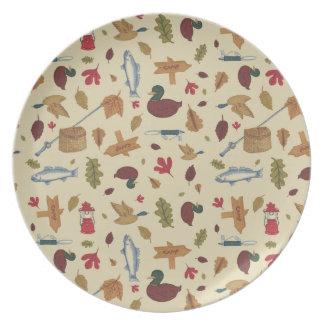 Camping Pattern Melamine Plate
