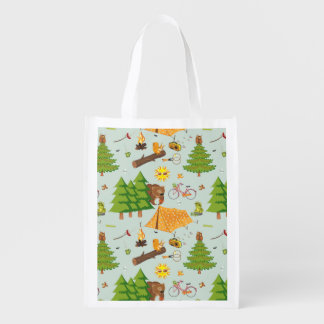 Camping Pattern Reusable Grocery Bag