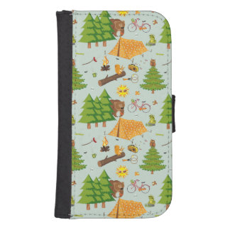 Camping Pattern Samsung S4 Wallet Case