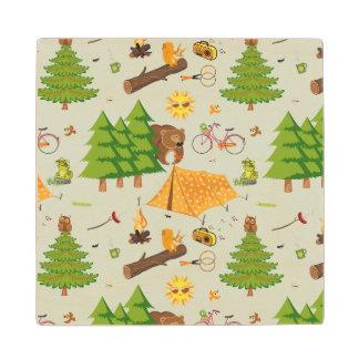 Camping Pattern Wood Coaster