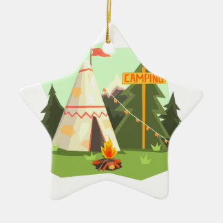 Camping Place With Bonfire, Wigwam And Forest Christmas Ornament