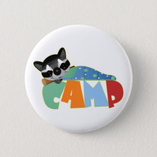 Camping Racoon 6 Cm Round Badge