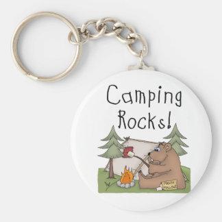 Camping Rocks Basic Round Button Key Ring