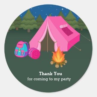 Camping Round Sticker