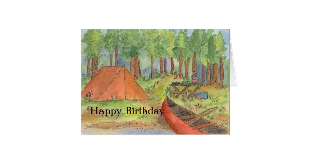 camping scene happy birthday card  zazzlecouk