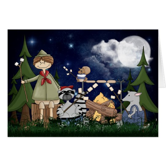 Camping Scout Boy with Racoon and Opossum Card