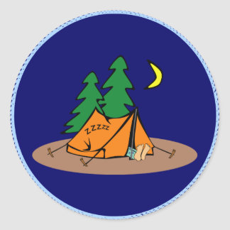 Camping - sleeping in a tent round sticker