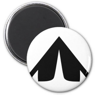 camping tend icon 6 cm round magnet