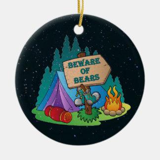 CAMPING TENT BEWARE BEARS ORNAMENT