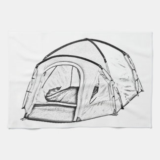 """Camping Tent"" design kitchen towels"