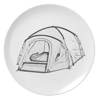 """Camping tent"" design melamine plates"