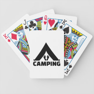 Camping tent feet bicycle card decks