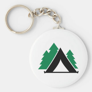 Camping tent forest basic round button key ring