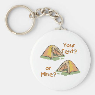 Camping Tents Basic Round Button Key Ring