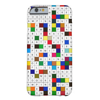 Camping Themed Crossword Design on iPhone 6 Case Barely There iPhone 6 Case