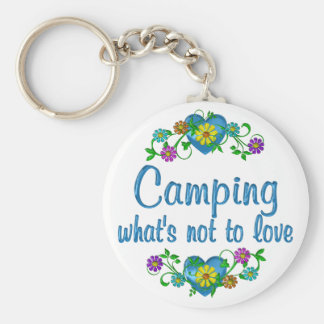 Camping to Love Basic Round Button Key Ring