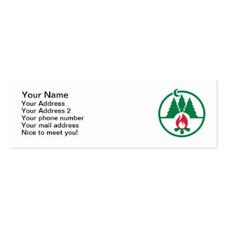 Camping trees campfire business card template