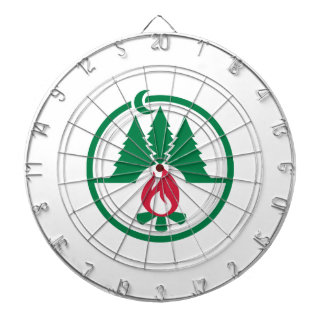 Camping trees campfire dartboard with darts