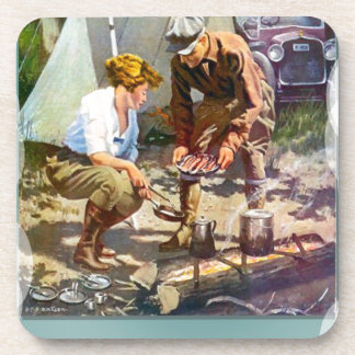 Camping trip drink coasters
