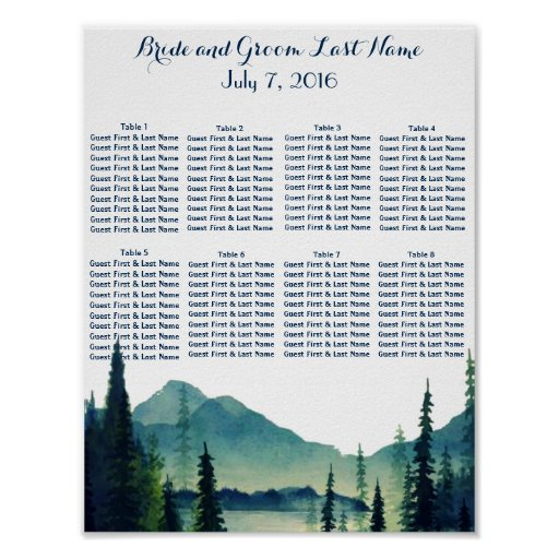 Camping Wedding Table Seating Poster