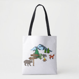 Camping With Mr Bear and Mr Fox Tote Bag