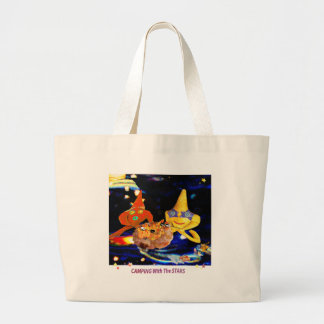 Camping with the stars large tote bag