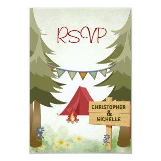 Camping Woodland Wedding RSVP Card Custom Announcement