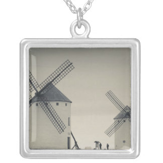 Campo de Criptana, antique La Mancha windmills 2 Silver Plated Necklace