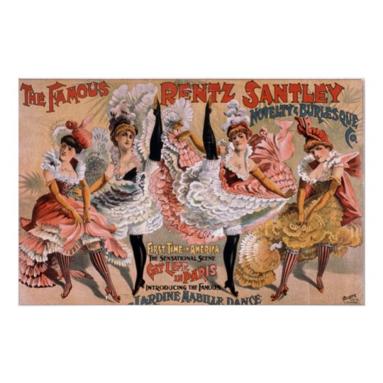 Can Can Dancing Girls Vintage Poster