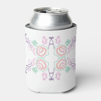 Can cooler Folk ornaments on white