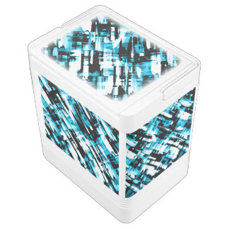Can Cooler Hot Blue Black abstract digitalart G253 Igloo Cooler