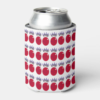 Can cooler with ananases red on white