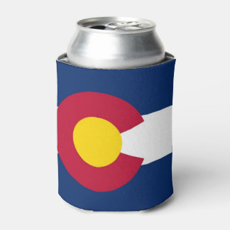 Can Cooler with flag of Colorado State, USA.
