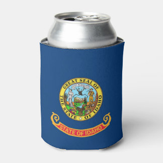 Can Cooler with flag of Idaho State, USA.