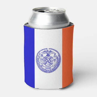 Can Cooler with flag of New York City, USA.