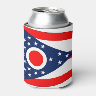 Can Cooler with flag of Ohio, USA.